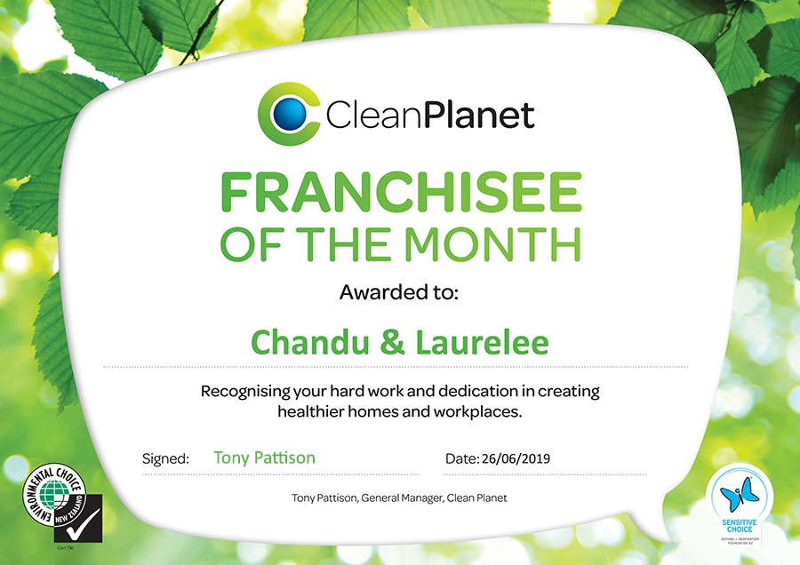 Clean Planet Franchise of the month Award